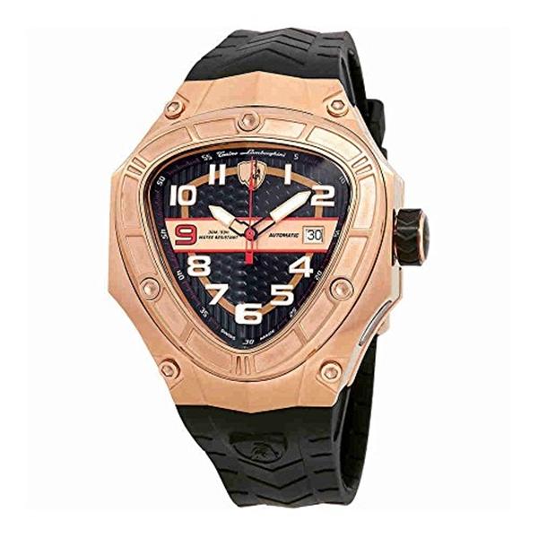 ランボルギーニ 腕時計 時計 Lamborghini Spyder Glass Automatic Black Dial Mens Watch LR50-03