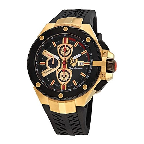 ランボルギーニ 腕時計 時計 Lamborghini Tyre Chronograph Black Dial Mens Watch TYRE 05