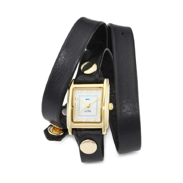 ラメール コレクションズ 腕時計 La Mer Collections LMWTW1035 レディース ウォッチ 女性用 La Mer Collections Women's LMWTW1035 Gold-Tone Watch with Black Leather Wrap-Around Band