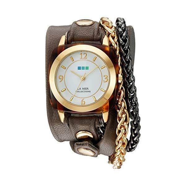 ラメール コレクションズ 腕時計 La Mer Collections LMACETATECH002 レディース ウォッチ 女性用 La Mer Collections Women's 'Double Motor Chain' Quartz Gold-Tone and Leather Watch, Multi Color (Model: LMACETATECH002)
