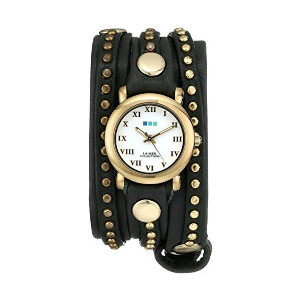 ラメール コレクションズ 腕時計 La Mer Collections LMSW6003 レディース ウォッチ 女性用 La Mer Collections Women's LMSW6003 Bali Gold-Tone Studded Watch with Gray Leather Wraparound Strap