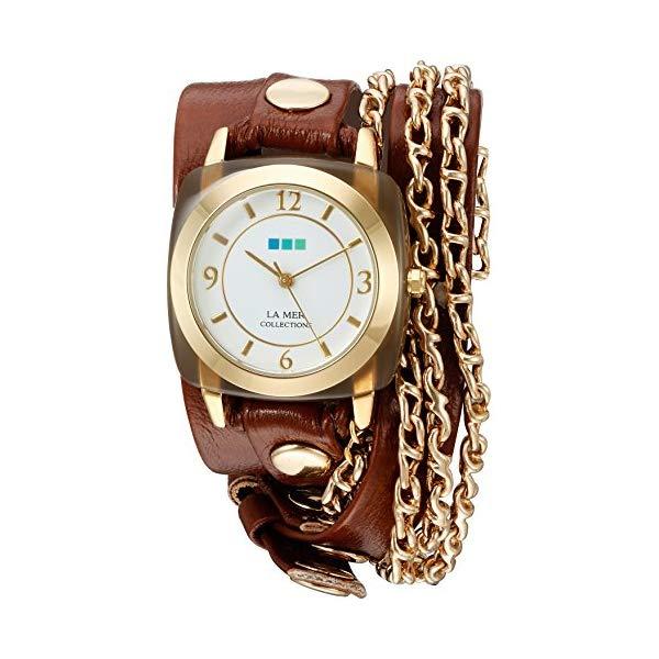 ラメール コレクションズ 腕時計 La Mer Collections LMMULTI2016313 レディース ウォッチ 女性用 La Mer Collections Women's Quartz Gold-Tone and Leather Watch, Color:Brown (Model: LMMULTI2016313)