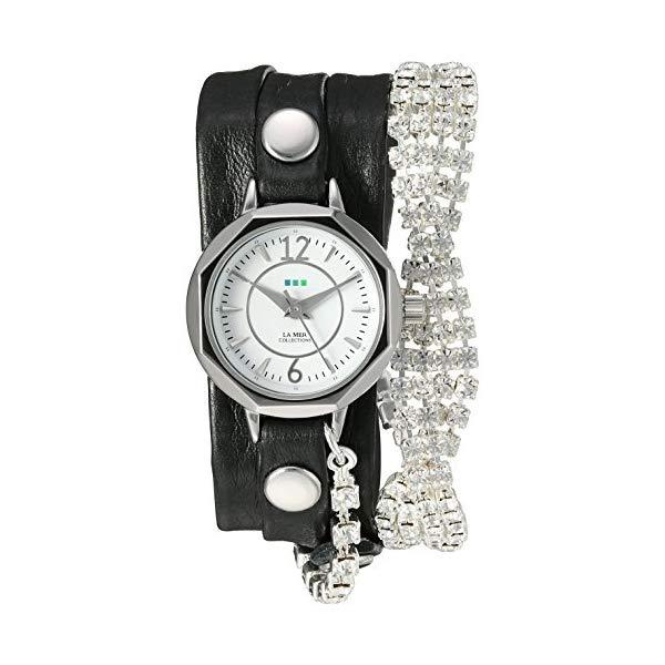 ラメール コレクションズ 腕時計 La Mer Collections LMDELCRY1504 レディース ウォッチ 女性用 La Mer Collections Women's Quartz Silver-Tone and Leather Watch, Color:Black (Model: LMDELCRY1504)