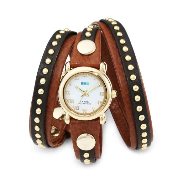 ラメール コレクションズ 腕時計 La Mer Collections LMSW3001 レディース ウォッチ 女性用 La Mer Collections Women's LMSW3001 Gold-Tone Watch with Brown Leather Wrap-Around Band