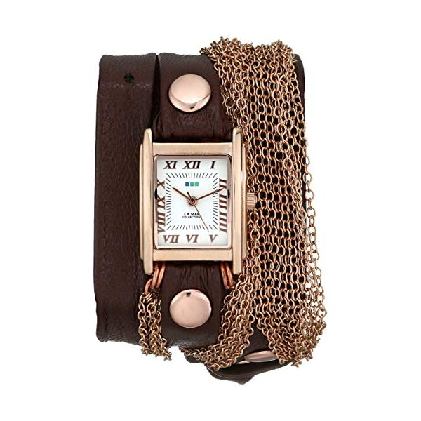 ラメール コレクションズ 腕時計 La Mer Collections LMDUO1002 レディース ウォッチ 女性用 La Mer Collections Women's LMDUO1002 Ros Gold-Tone Watch with Wraparound Brown Leather Band
