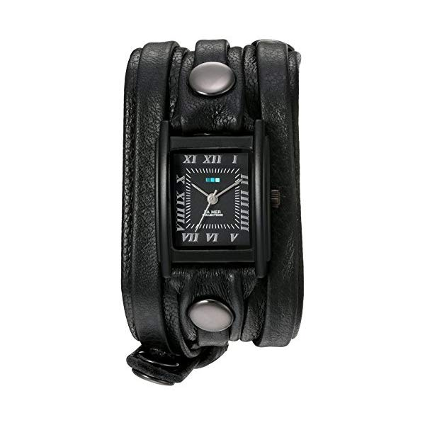 ラメール コレクションズ 腕時計 La Mer Collections LMLW7011 レディース ウォッチ 女性用 La Mer Collections Women's Quartz Stainless Steel and Leather Watch, Color:Black (Model: LMLW7011)
