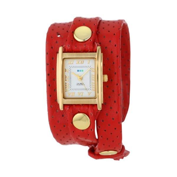 ラメール コレクションズ 腕時計 La Mer Collections LMSTW3006 レディース ウォッチ 女性用 La Mer Collections Women's LMSTW3006 Perforated Red Gold Wrap Watch