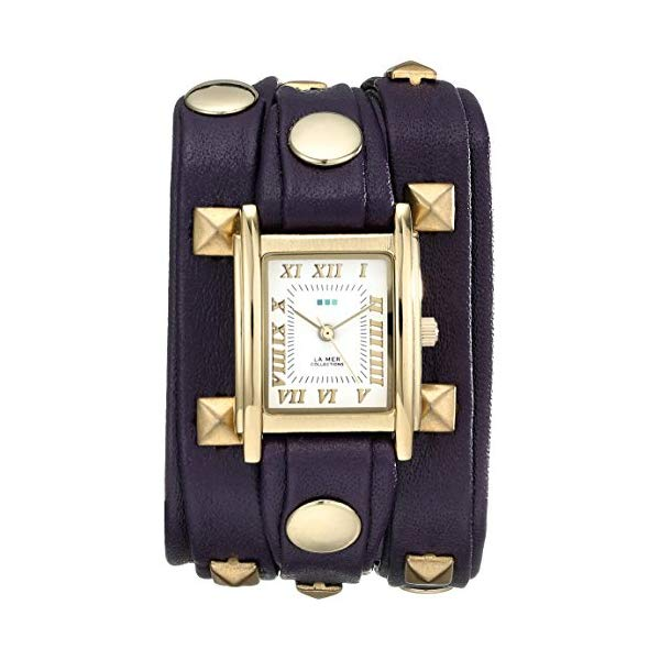 ラメール コレクションズ 腕時計 La Mer Collections LML1010H レディース ウォッチ 女性用 La Mer Collections Women's LML1010H Stainless Steel Watch with Purple Leather Wraparound Band