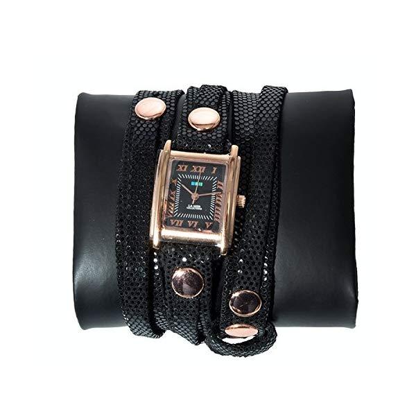 ラメール コレクションズ 腕時計 La Mer Collections レディース ウォッチ 女性用 La Mer Collections Black Sequin Leather and Rose Gold Plated Women's Watch
