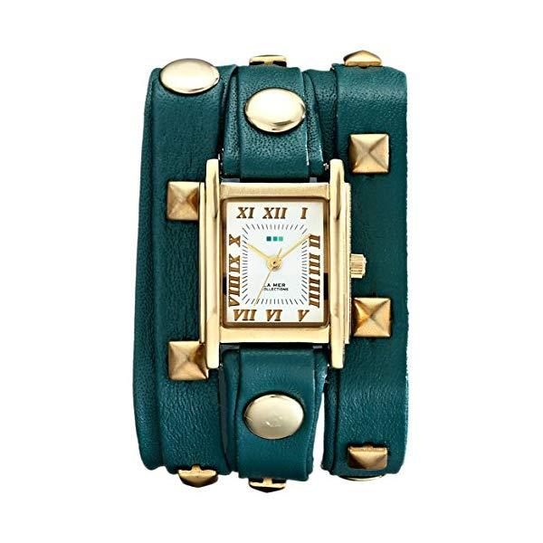 ラメール コレクションズ 腕時計 La Mer Collections LMLW1010G レディース ウォッチ 女性用 La Mer Collections Women's LMLW1010G Gold-Tone Stainless Steel Watch with Wraparound Teal Leather Band