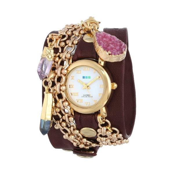 ラメール コレクションズ 腕時計 La Mer Collections LMISTAN001 レディース ウォッチ 女性用 La Mer Collections Women's LMISTAN001 Istanbul Removable Crystal Charms Gold Circle Case White Dial Burgundy Gold Leather Watch