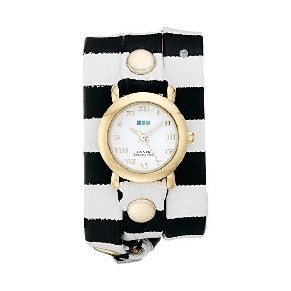ラメール コレクションズ 腕時計 La Mer Collections LMSTW4002 レディース ウォッチ 女性用 La Mer Collections Women's LMSTW4002 Gold-Tone Watch with Striped Leather Band