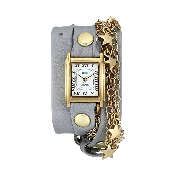 ラメール コレクションズ 腕時計 La Mer Collections LMCW5001 レディース ウォッチ 女性用 La Mer Collections Women's LMCW5001 Gold-Tone Star Charms and Multi-Chain Wrap Watch With Gray Leather Band