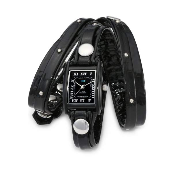 ラメール コレクションズ 腕時計 La Mer Collections LMSW1002 レディース ウォッチ 女性用 La Mer Collections Women's LMSW1002 Black Patent Face Studded Layer Wrap Watch