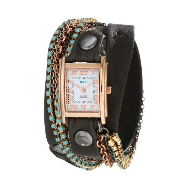 ラメール コレクションズ 腕時計 La Mer Collections LMMULTI3006 レディース ウォッチ 女性用 La Mer Collections Women's LMMULTI3006 Rose Gold-Plated Watch with Wraparound Black Leather Band and Swarovski Crystal Chains