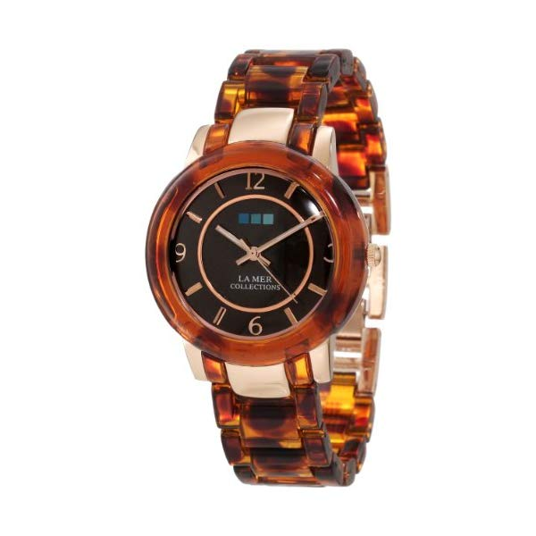 ラメール コレクションズ 腕時計 La Mer Collections LMINDO009 レディース ウォッチ 女性用 La Mer Collections Women's LMINDO009 Indo Lucite Rose Gold and Tortoise Indo Lucite Watch