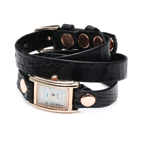 ラメール コレクションズ 腕時計 La Mer Collections LMSTW7004 レディース ウォッチ 女性用 La Mer Collections Women's LMSTW7004 Simple Black Croco Embossed and Rose Gold Wrap Watch