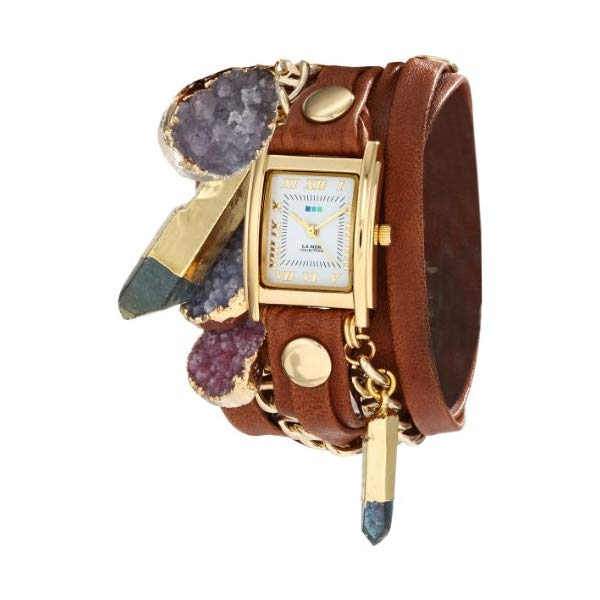 ラメール コレクションズ 腕時計 La Mer Collections LMDRUZYCW003 レディース ウォッチ 女性用 La Mer Collections Women's LMDRUZYCW003 North Star Gold Square Case Brown Wash Layer Strap Multi-Colored Druzy Gold Dipped Crystals Watch