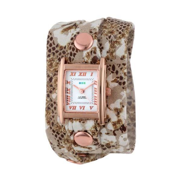 ラメール コレクションズ 腕時計 La Mer Collections LMSTW4003 レディース ウォッチ 女性用 La Mer Collection's Women's LMSTW4003 Brown-White Flower Print Wrap Watch