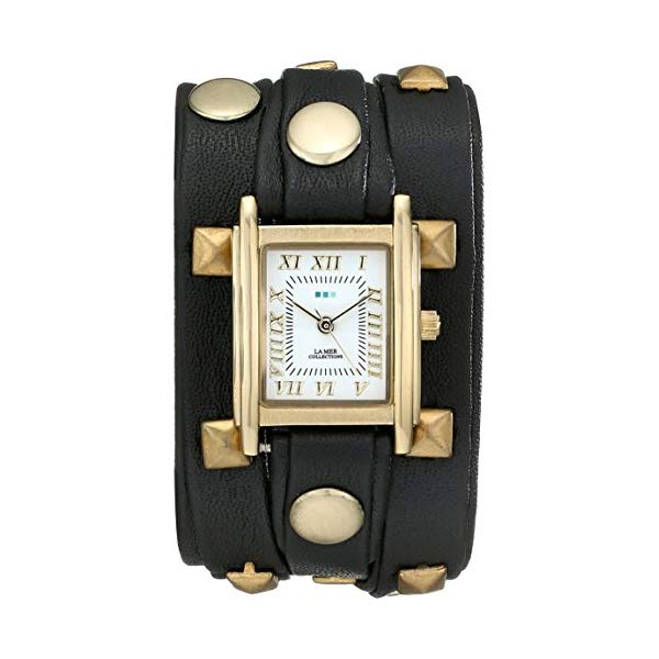 ラメール コレクションズ 腕時計 La Mer Collections LMLW1010J レディース ウォッチ 女性用 La Mer Collections Women's LMLW1010J Gold-Tone Watch with Wraparound Black Leather Band