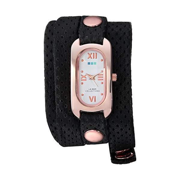 ラメール コレクションズ 腕時計 La Mer Collections LMSOHO4000 レディース ウォッチ 女性用 La Mer Collections Women's Soho Wrap Watch Gold Japanese-Quartz Leather Calfskin Strap, Black, 11.3 (Model: LMSOHO4000)
