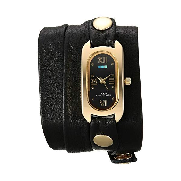 ラメール コレクションズ 腕時計 La Mer Collections LMSOHO1004 レディース ウォッチ 女性用 La Mer Collections Women's Soho Wrap Watch Japanese-Quartz Leather Calfskin Strap, Black, 12 (Model: LMSOHO1004)