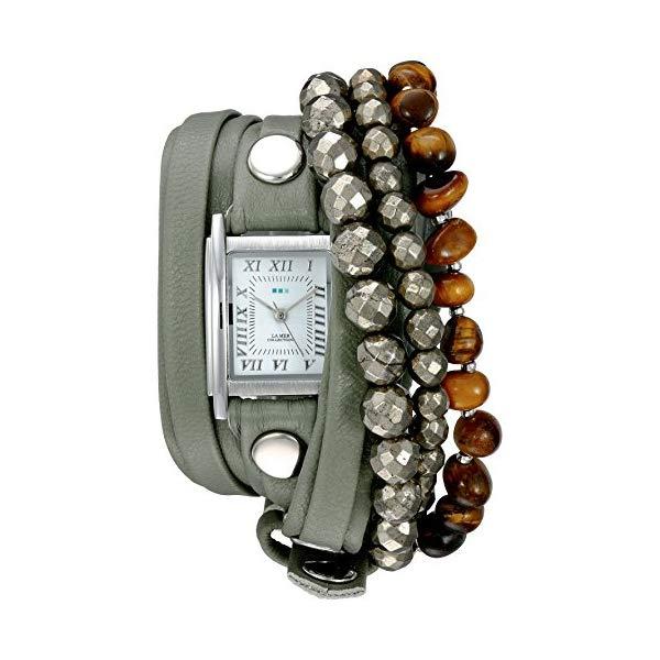 ラメール コレクションズ 腕時計 La Mer Collections LMSTONE3501 レディース ウォッチ 女性用 La Mer Collections Women's Quartz Silver-Tone and Leather Watch, Color:Green (Model: LMSTONE3501)