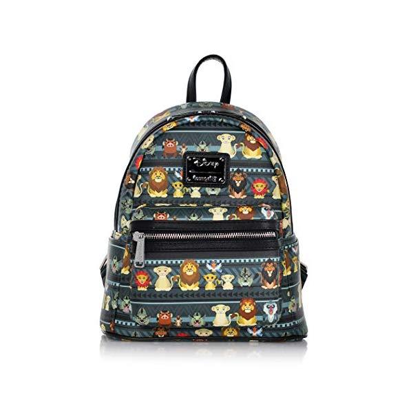 ライオンキング リュック バックパック バッグ カバン 鞄 グッズ おもちゃ ディズニー Loungefly x Disney Lion King Tribal AOP Mini Backpack, Grey, Black