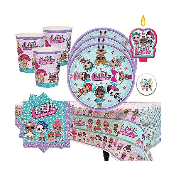 LOLサプライズ グッズ パーティーセット Another Dream L.O.L Surprise Birthday Party Pack for 16 with Plates, Napkins, Cups, Tablecover, and Candles!