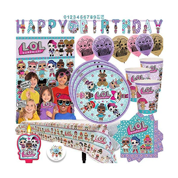 LOLサプライズ グッズ パーティーセット L.O.L. Surprise Party MEGA Pack with Decorations for 16 Guests With Plates, Cups, Napkins, Tablecover, Birthday Candle, Scene Setter with Props, 6 Balloons, and an EXCLUSIVE Birthday Pin by Another Dream!