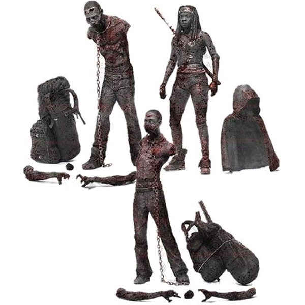 マクファーレン トイズ ウォーキングデッド アクションフィギュア ダイキャスト McFarlane Toys The Walking Dead TV Series 3 Bloody Black and White Michonne and Pet Zombie Action Figure, 3-Pack