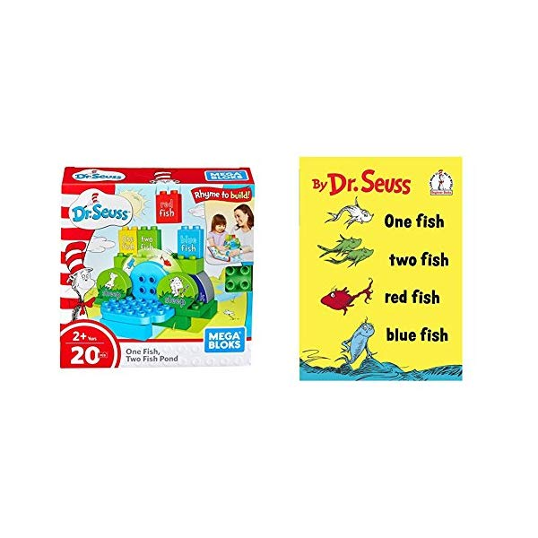 メガブロック ドクター・スース ブロック おもちゃ 知育玩具 お誕生日プレゼント Mega Bloks Dr. Seuss One Two Fish Pond Building Set (20 Piece), Multicolor with One Fish Two Fish 赤 Fish 青 Fish (I Can Read It All by Myself)