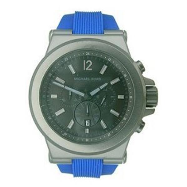 マイケルコース Michael Kors メンズ 腕時計 時計 Michael Kors Chronograph Black Dial Blue Silicone Mens Watch MK8357