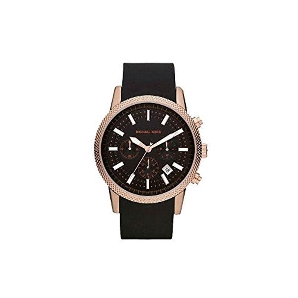 マイケルコース Michael Kors メンズ 腕時計 時計 Michael Kors MK8244 Men's Scout Rose Gold Tone Black Silicone Strap Chronograph Watch