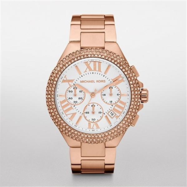 マイケルコース Michael Kors レディース 腕時計 時計 Michael Kors MK5636 Women's Chronograph Camille Rose Gold-Tone Stainless Steel Bracelet Watch