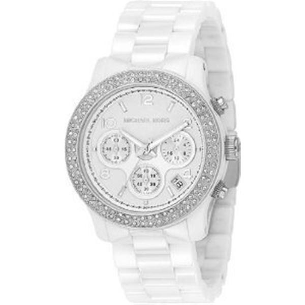 マイケルコース Michael Kors レディース 腕時計 時計 Michael Kors White Ceramic Link Bracelet Quartz Chronograph Crystal