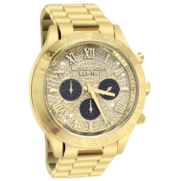 マイケルコース Michael Kors レディース 腕時計 時計 Michael Kors Layton Glitz Gold-tone Crystal Dial Ladies Watch MK5830