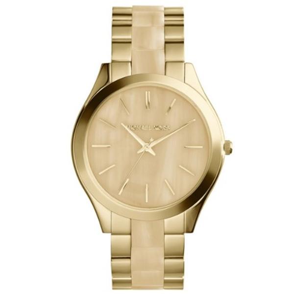 """マイケルコース Michael Kors レディース 腕時計 時計 Michael Kors MK4285 Women""""s Runway Horn and Gold-Tone Stainless Steel Bracelet Watch"""