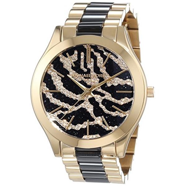 マイケルコース Michael Kors レディース 腕時計 時計 Michael Kors Slim Runway Zebra-pattern Crystal Pave Dial Two-tone Ladies Watch MK3315