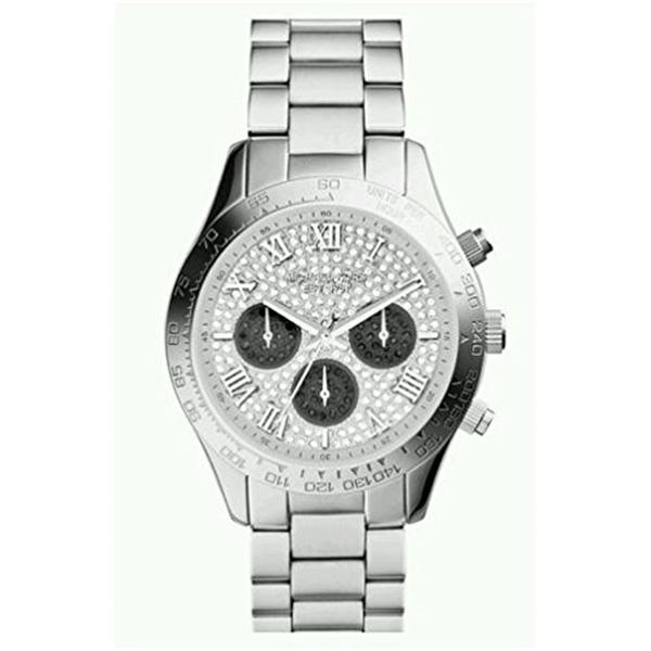 マイケルコース Michael Kors レディース 腕時計 時計 Michael Kors MK5977 Women's Layton Pave Crystals Dial Silver Tone Stainless Steel Bracelet Chronograph Watch