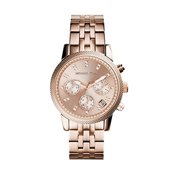 マイケルコース Michael Kors レディース 腕時計 時計 Michael Kors MK6077 Ladies Ritz Rose Gold Plated Chronograph Watch