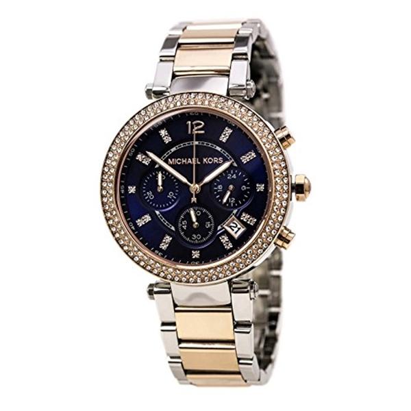 マイケルコース Michael Kors レディース 腕時計 時計 Michael Kors Parker Mini Chronograph Blue Dial Two-tone Ladies Watch MK6141