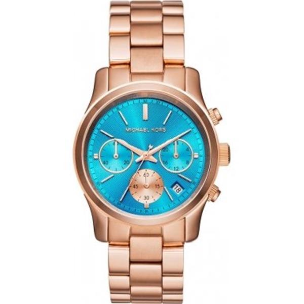 マイケルコース Michael Kors レディース 腕時計 時計 Michael Kors Blue Dial Rose Gold Tone SS Chronograph Quartz Ladies Watch MK6164