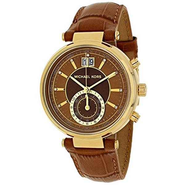 マイケルコース Michael Kors レディース 腕時計 時計 Womens Goldtone Sawyer Watch With An Embossed Amber Croco Leather Strap