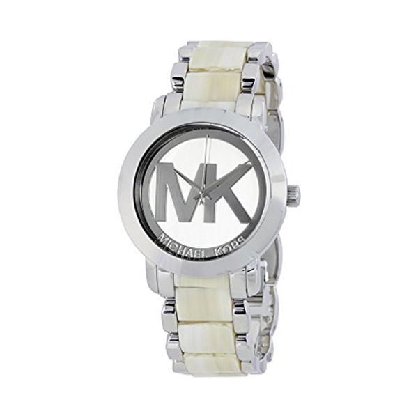 マイケルコース Michael Kors レディース 腕時計 時計 Michael Kors Silver Dial Steel and Beige Acrylic Ladies Watch MK4304