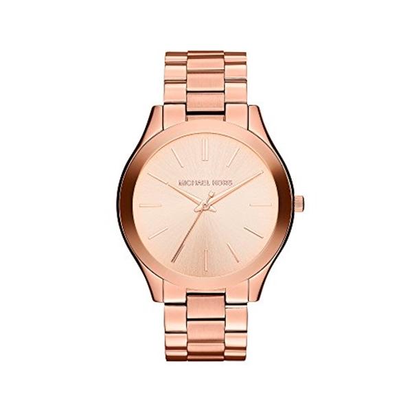 マイケルコース Michael Kors レディース 腕時計 時計 Michael Kors Mid-Size Rose Goldtone Stainless Steel Slim Runway Three-Hand Watch