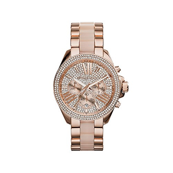 マイケルコース Michael Kors レディース 腕時計 時計 Michael Kors Rose Goldtone Wren Watch with Pave Dial & Blush Center Link