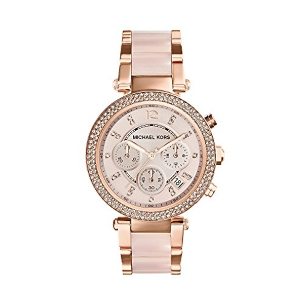 マイケルコース Michael Kors レディース 腕時計 時計 Michael Kors Mid-Size Rose Goldtone/Stainless Steel Parker Three-Hand Glitz Watch
