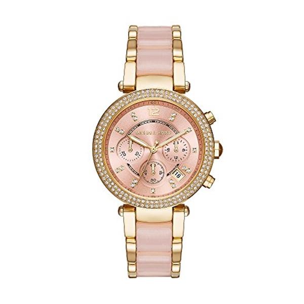 マイケルコース Michael Kors レディース 腕時計 時計 Michael Kors Womens Parker Blush Acetate and Goldtone Chronograph Watch