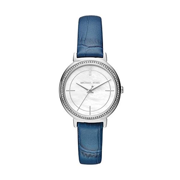 マイケルコース Michael Kors レディース 腕時計 時計 Michael Kors MK2661 Cinthia Stainless-Steel and Denim Blue Leather Three-Hand Watch